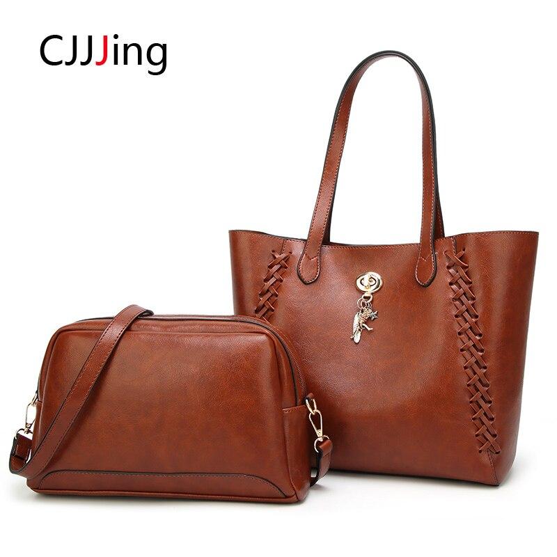 2pcs/set Tote Bags Leather Package Handbag Sets Female Shoulder Bag Women Composite Messenger Bag Lady Purse CJJJing high quality tote bag composite bag 2