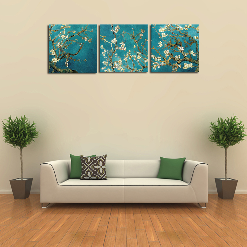 2017 Hot Sale Fallout Unframed 3 Panels Almond Blossom Modern Canvas Wall Art Flower Home Decorative Picture Paint On Prints