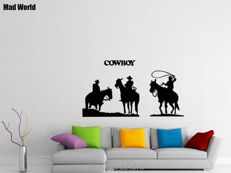 Western Pferde Cowboy 3D-Look Papier Wandtattoo Aufkleber-Sticker
