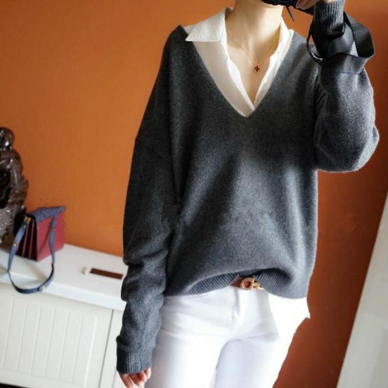 c014915986 Camel Cuello yellow gris gris Suéter Oscuro Suave Otoño Brown Color Suelto  Y Las Cómodo Primavera azul Modelos Sólido Con Mujeres ...
