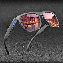 Gafas de sol polarizadas Vintage Anti-UV conductor negro gafas rectangulares hombres Oculos masculino