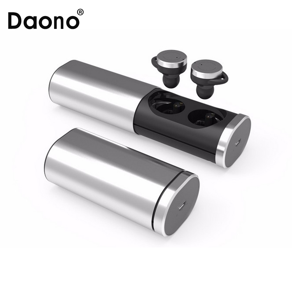 Daono TWS Bluetooth 4.1 True Wireless Stereo earphones headset handsfree earbud with MIC charging box for smartphones k6 voyager legend bluetooth headset handsfree wireless stereo 4 1 bluetooth car headphones a gift earphones carrying box