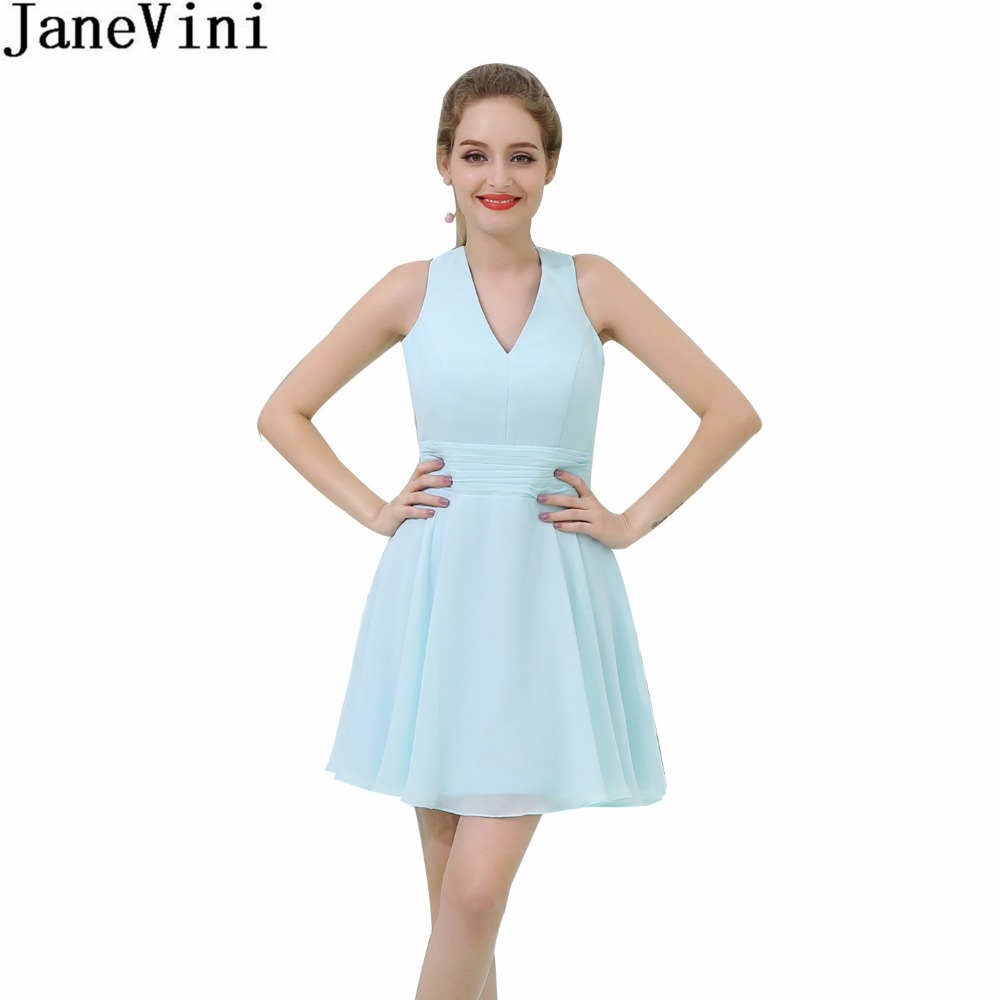JaneVini Simple Light Blue Girls   Bridesmaid     Dress   Short Mini Chiffon Wedding Party   Dresses   For Women Cross Back Pleat Prom Gowns