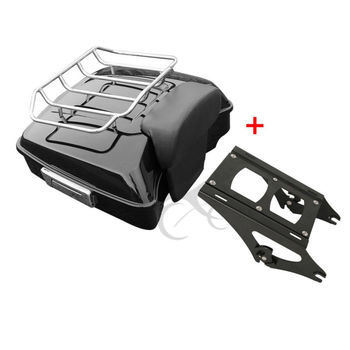 Motorcycle Moto Chopped Tour Pak Pack Trunk Backrest Two-up Rack For Harley Davidson Touring Models Road King Glide 14+