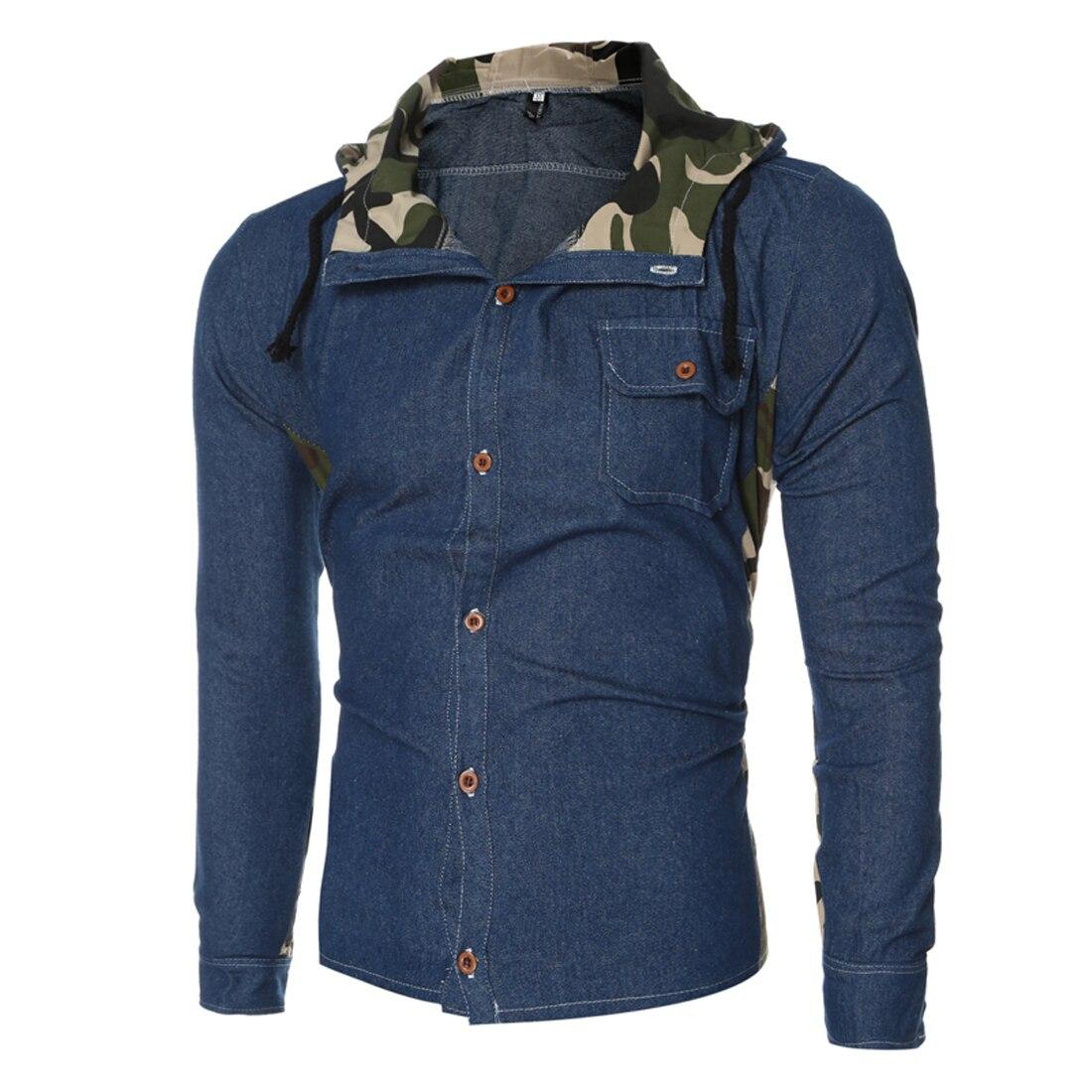 Yjsfg dom 2017 casual jeans kurtka m czy ni kamufla patchwork denim kurtki z kapturem p aszcz slim fit