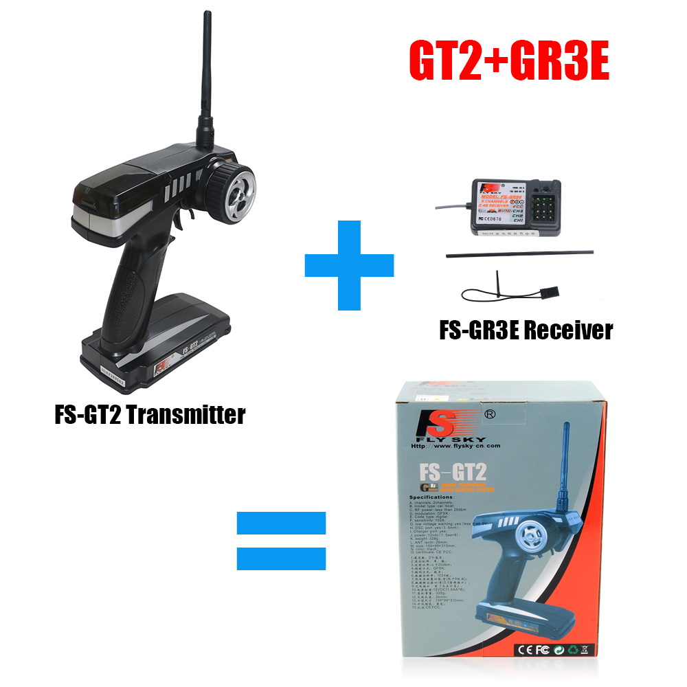купить Flysky FS RC remote control 2.4G FS-GT2 2CH Radio Model RC Transmitter & FS-GR3E Receiver For Rc Car Boat Model GT2 по цене 2208.56 рублей