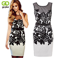 GOPLUS 2017 Sleeveless Hollow Out Printed Summer Women Lace Dress Black and White Bodycon Ladies Pencil Dress Sexy Party Dress