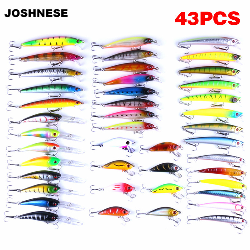 JOSHNESE 43 Pcs Minnow Artificial Fly Fishing Lures Set Hard Bait Lure Wobbler Carp 6 Models Fishing Tackle стоимость