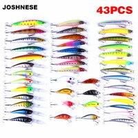 JOSHNESE 43 Pcs Minnow Artificial Fly Fishing Lures Set Hard Bait Lure Wobbler Carp 6 Models