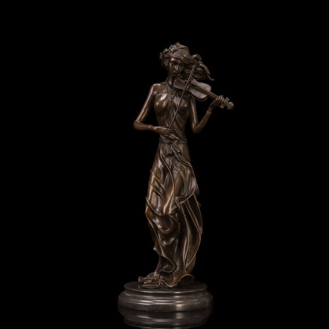 Delicate Violinist Girl Statues Musical Instruments Violin Bronze Sculpture Statue  Home Decoration