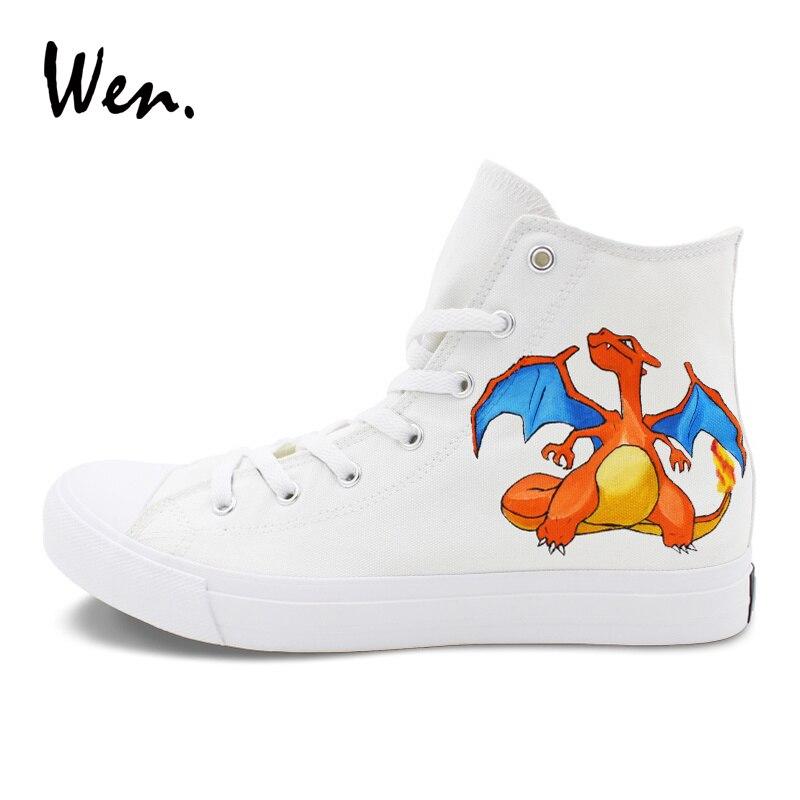 Blancos De Wen Arriba Zapatillas Mujer Pikachu Alta Zapatos Hombres Charizard Diseño Anime Pokemon Deporte Los A Mano Pintado wqqEA5p