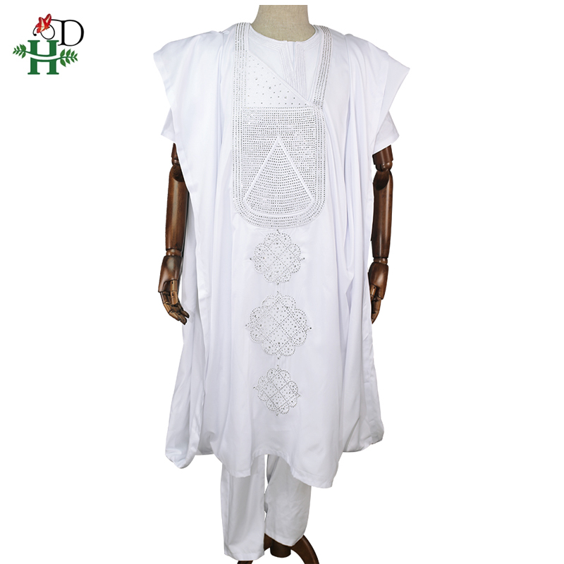 H&D african men dashiki clothes 3PCS set short sleeve t-shirt pant cover suit white dress embroidered pattern with stones PH3312