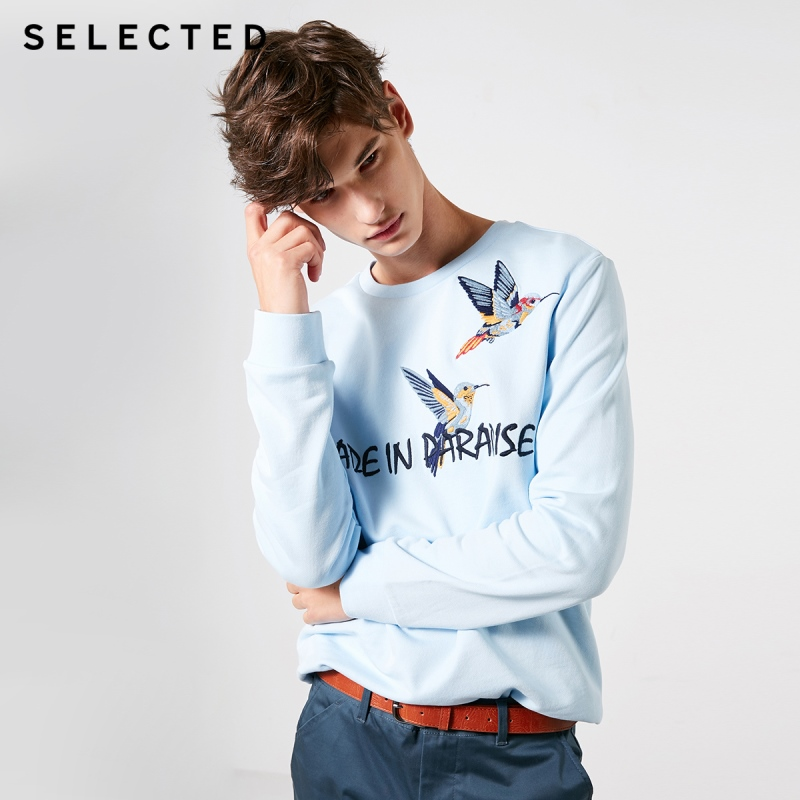 SELECTED Men's Spring 100% Cotton Embroidered Round Neckline Sweatshirt S|41914D505