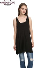 Game Of Love Women's Sleeveless Hi Low Panel Top  V-neck A-line tank top