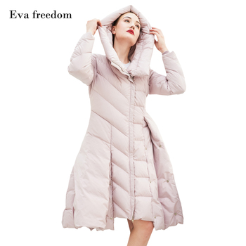 Eva freedom band women 90% white goose down coats 2019 winter new fashion casual style long female Hooded down jackets gx1076