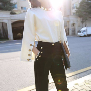 Image 4 - TWOTWINSTYLE Flare Sleeve T Shirt Female Split O Neck With Necklace White Pullover T Shirts 2020 Spring Fashion OL Clothing