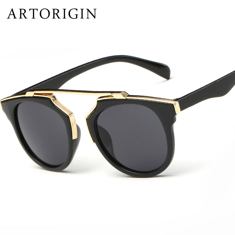 FashionBrand Designer Women Sunglasses Round Lens Cat Eye Mirror Sun Glasses Female Quality Oculos De Sol Feminino