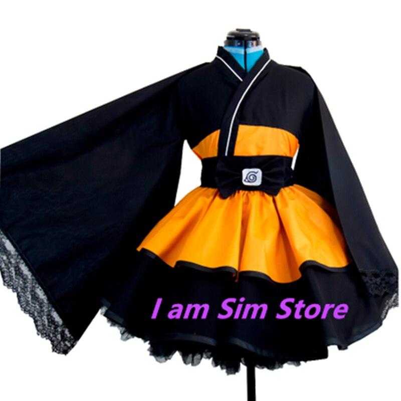 Anime Naruto Uzumaki Lolita Kimono Dress Cosplay Costume Custom Made