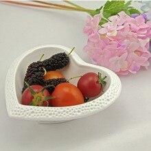 1Pcs KEYAMA New white heart-shaped embossed ceramic salad bowls Dinner seasoning bowls Beautiful table decorative fruit dishes