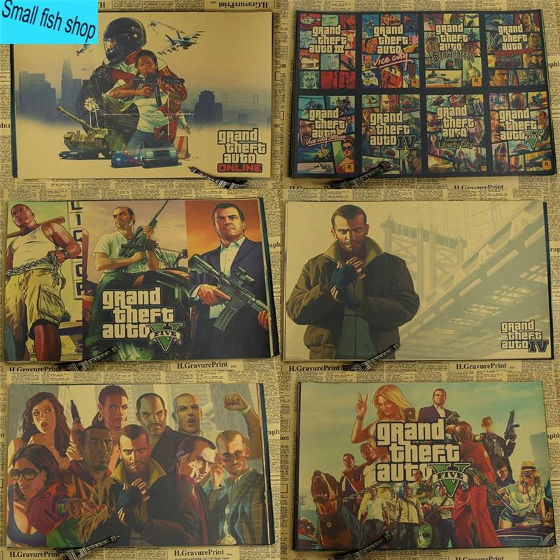 Grand Theft Auto Game Poster Sākums Mēbeļu apdare Kraft Game Poster Zīmēšanas kodols Sienas uzlīmes