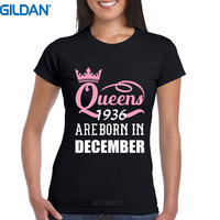 O Neck Short Sleeve Queens Are Born In December 1936 Funny 81St Birthday Gift Cool Slim