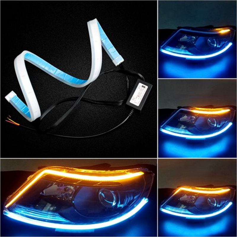 2pcs Ultrafine 45cm 60cm Flexible Led Drl With Flowing Yellow Turn Signal Daytime Running Lights