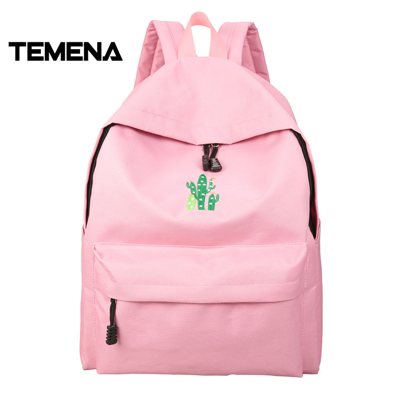 Temena New Simple Canvas Backpack Cactus Embroidery School Bag For Teenager Women Rucksack Mochila Escolar Women