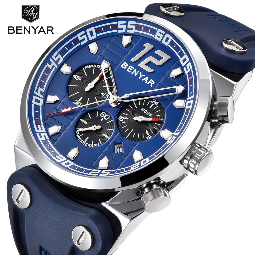 e39e990ba BENYAR Big Dial Sport Watches Men Top Brand Luxury Quartz Chronograph  Silicone Outdoor Waterproof Watch Male