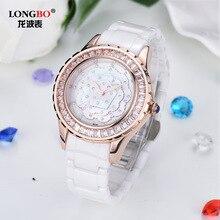 Blanco De Cerámica de Lujo LongBo Reloj Femenino Estudiantes de Calidad Superior Hembra de Oro Rosa de Diamantes Relojes de Moda de Cuarzo Resistente Al Agua Relojes