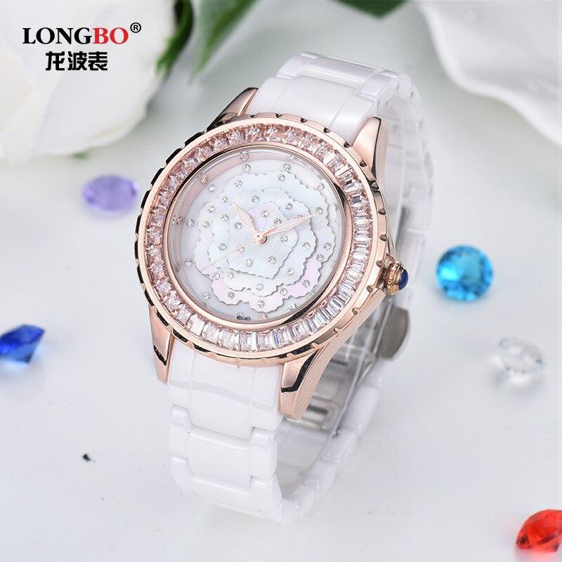 White Ceramic Luxury LongBo Top Quality Watch Female Students Female Rose Gold Fashion Diamond Watches Waterproof Quartz Watches
