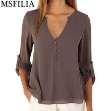 Новая Осень Мода Женщины глубокий v шеи кнопка с длинным рукавом топы шифон футболки твердые элегантный Топ повседневная блузка