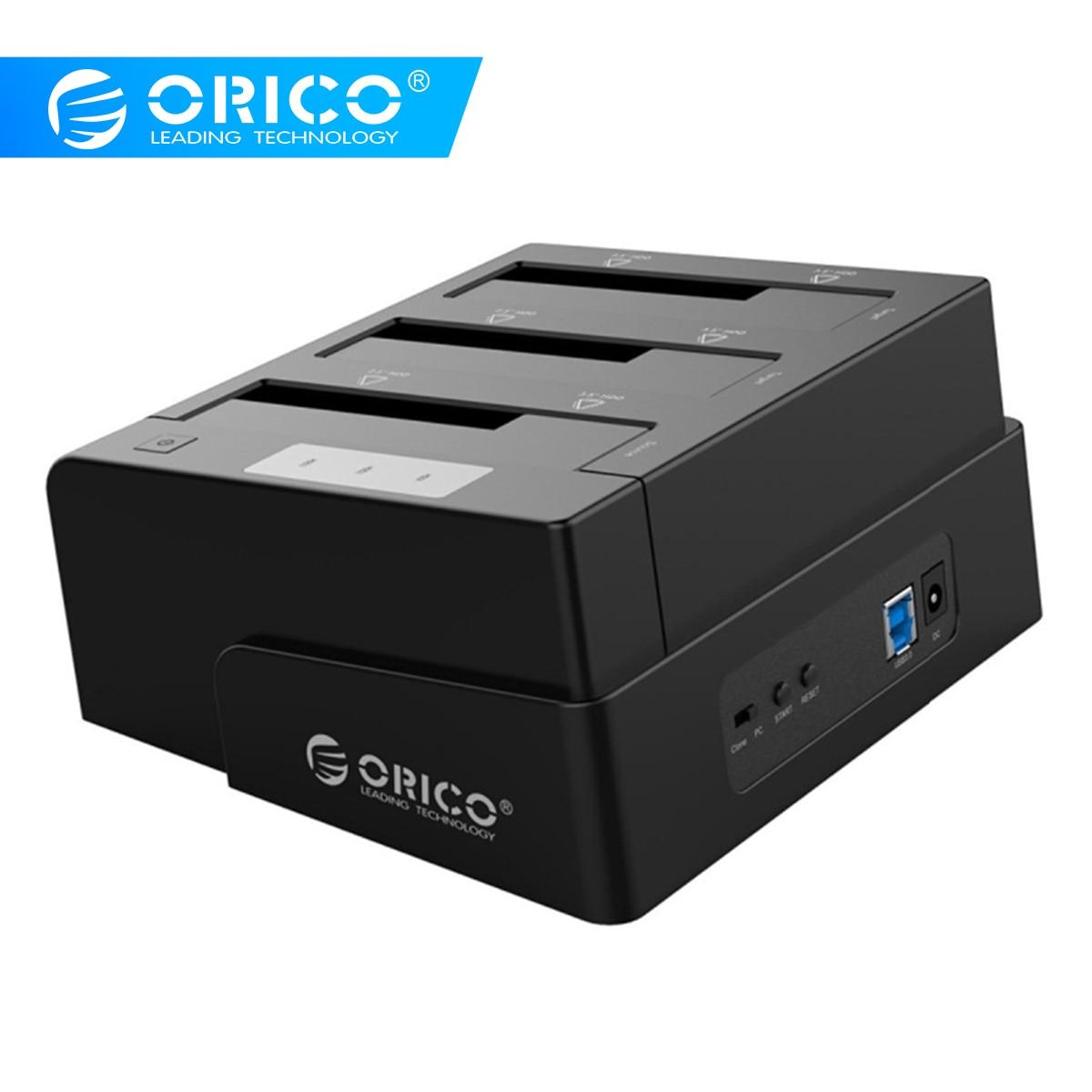 ORICO 3-Bay USB 3.0 dysk twardy stacja dokująca dla 2.5 3.5 cal dysk twardy SATA HDD wsparcie klon z 12V5A moc wspornik adaptera 18 TB