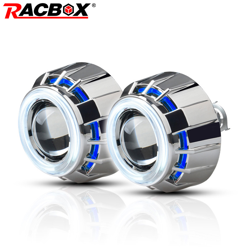 RACBOX Pair 3 inch H1 HID Bi Xenon Projector Lens with White Red Blue Angel Eye