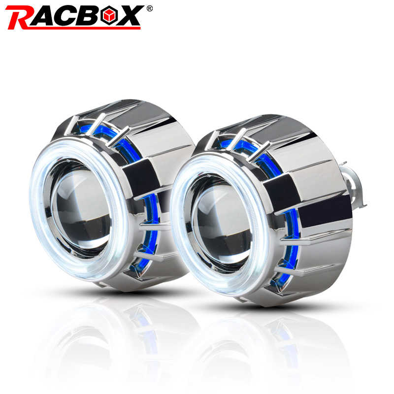 RACBOX Pair 3 inch H1 HID Bi Xenon Projector Lens with White Red Blue Angel Eye CCFL Styling Headlight For Automobile Motorcycle