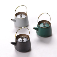 Ceramic Pottery Pot Tea Pot Handmade Large Retro Japanese Style Thick Tautillan Pot Tea TeaSet Single Pot 210ml Green