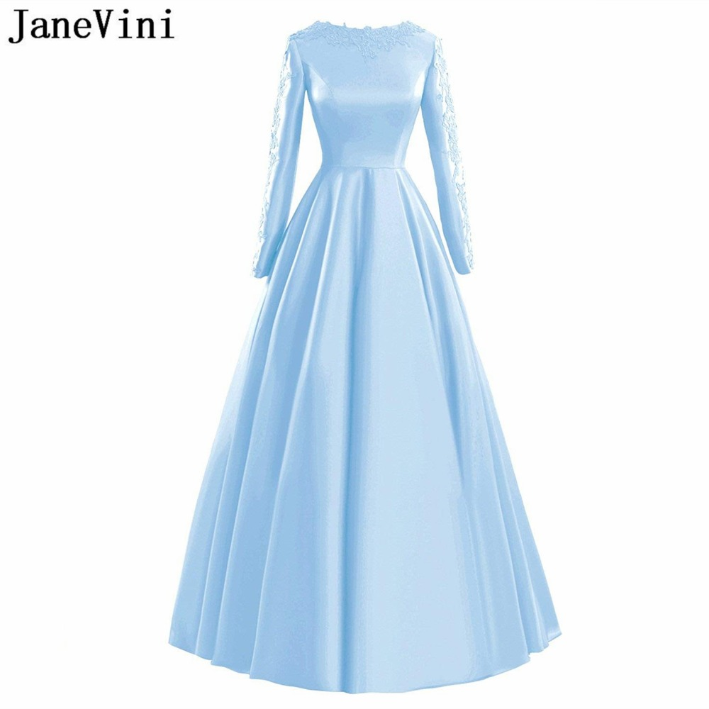 JaneVini Simple Sky Blue Long Sleeves   Bridesmaid     Dresses   A Line Lace Appliques Sweep Train Satin Formal Prom Gowns Zipper Back