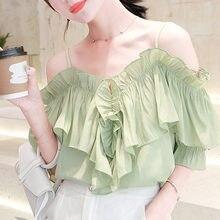 UMA forma Das Mulheres Tops e Blusas 2019 Camisa Blusa Chiffon Camisas Verdes Babados Barra pescoço blusa parágrafo como mulheres