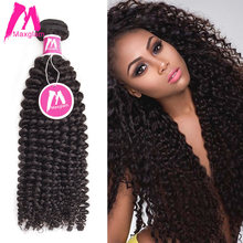 Maxglam Peruvian Virgin Hair Kinky Curly Unprocessed Natural Color Human Hair Bundles Extension Free Shipping(China)