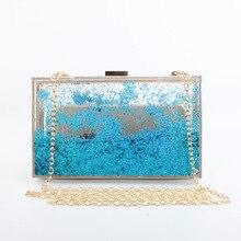 Xianjian стильный блестящий shining star луна порошок оформлены акриловый пластик партия сцепления сумка мини мешок руки партии клатчи