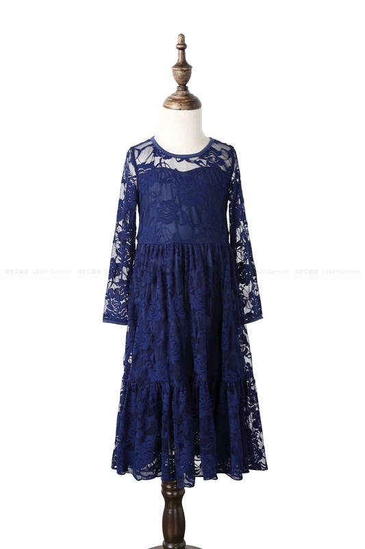 Kids Princess Dresses Girl Lace Long Dress Age 2-12 Baby Big Bow Long Sleeved Wedding Party Dress Noble Navy Children Clothes lace party big baby girl dress long sleeve autumn cotton bow red white princess dress kids baby girl dress children clothing