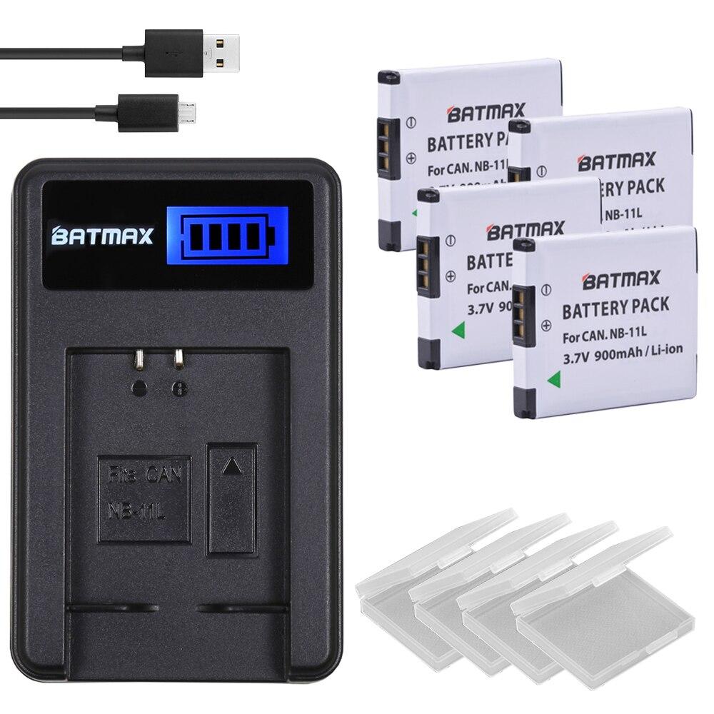 4 unids 900 mAh nb-11l NB 11l nb11l Baterías para cámara y cargador del USB del LCD para Canon a2600 a3500 a4000is IXUS 125 132 140 240 245 265 155 HS