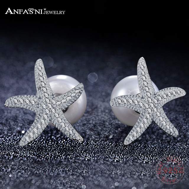 ANFASNI Famous Brand Design Sea Star Stud Earrings For Women Micro Pave AAA Cubic Zirconia Starfish 925 Sterling Silver Jewelry