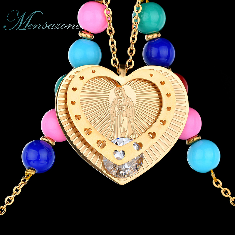 MENSAZONE New Arrival Christian Virgin Mary Heart Pendant Necklace Colorful Bead Chain CZ Stone Maria Necklaces For Women