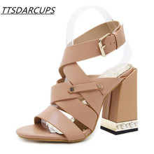 New summer Open toe Belt buckle Ankle strap High heel sandals Big code sexy night shop rivet shoes Fashion banquet shoes