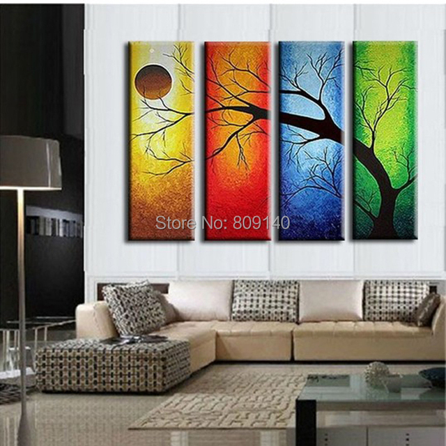 5e168f02c5d Framed Stretched Abstract Landscape oil painting canva handmade Modern home  office hotel wall art decor decoration free ship New