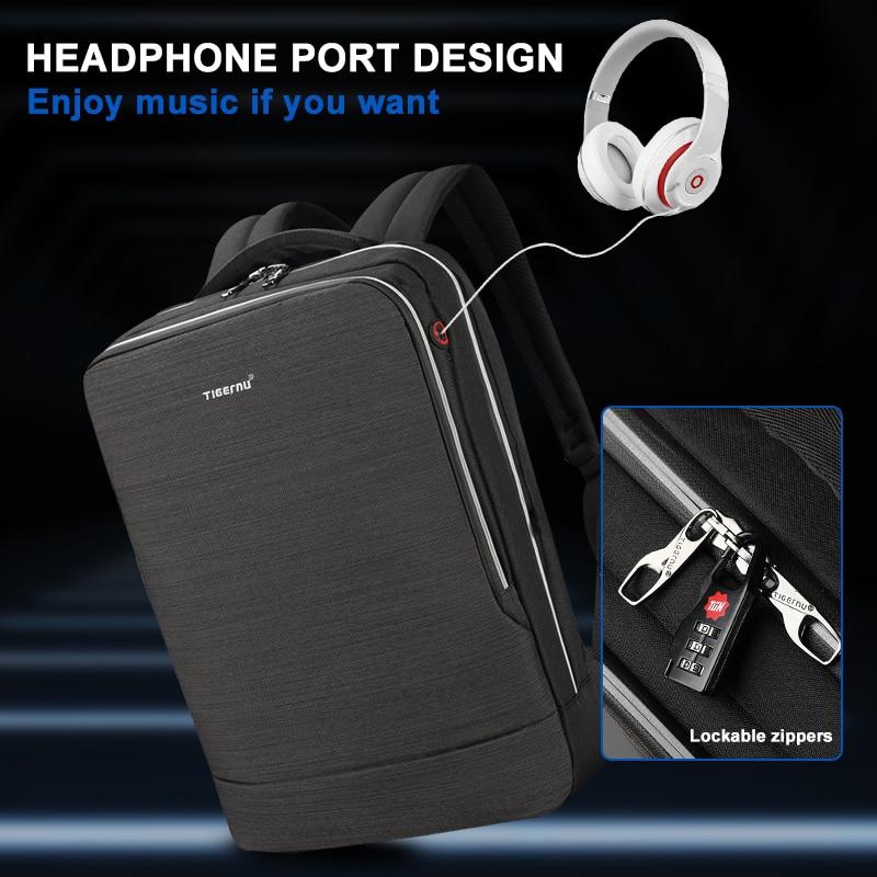 Tigernu 2019 New Business Backpack 15.6 inch Laptop Men Backpack Waterproof with USB Charging Headphone Male Bag Bagpack Mochila