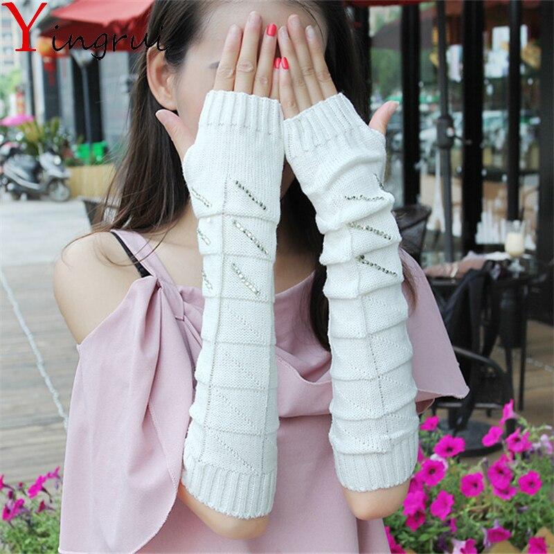 1Pair Knitted Arm Warmer Long Arm Cuff Rhinestone Work Out Warm Glove Sleeve Armguard Unisex Oversleeve Sleevelet Winter Mitten