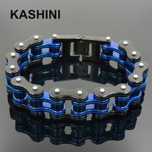 Punk Motorcycle Chain Men's Blue Black Bracelet Mens Stainless Steel Biker Bracelet Men Bicycle Bike Bracelets & Bangles недорого