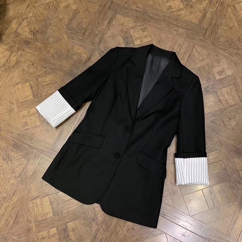 Noir vestes printemps femmes 2019 Turn Down col bureau dame demi manches Slim veste mode femmes nouvelle veste