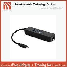 KUYiA 3 Ports Type C to Gigabit Ethernet LAN RJ45 Network Adapter USB 3.1 Hub Network Adapter For Macbook 12″ Chromebook(Black)